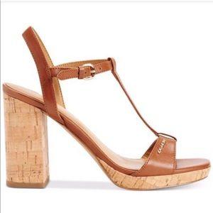 Coach Brianna Black Leather T-strap Sandal Heel 9